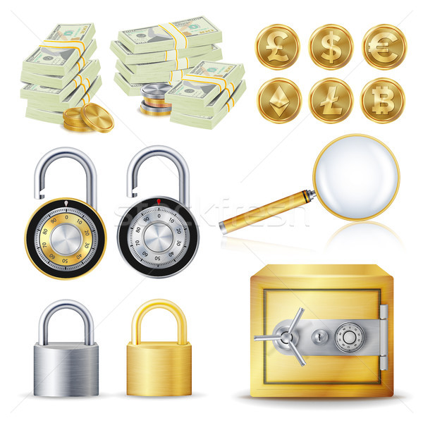 Finance Secure Concept Vector. Gold Coins, Money Banknotes Stacks, Encryption Padlock, Safe, Magnify Stock photo © pikepicture
