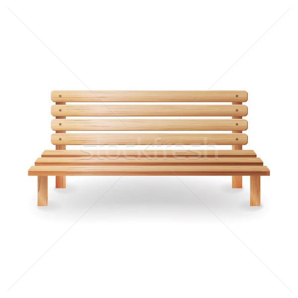 Stock fotó: Fából · készült · pad · valósághű · klasszikus · bútor · fehér