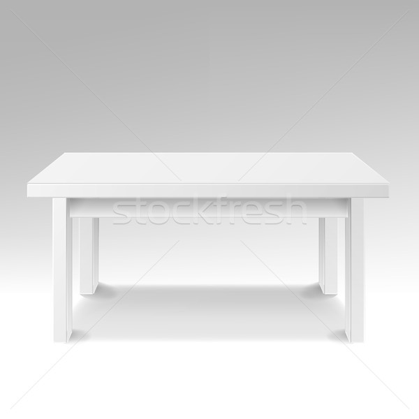 White Empty Square Table. Isolated Furniture, Platform. Realistic Vector Illustration. Stock photo © pikepicture