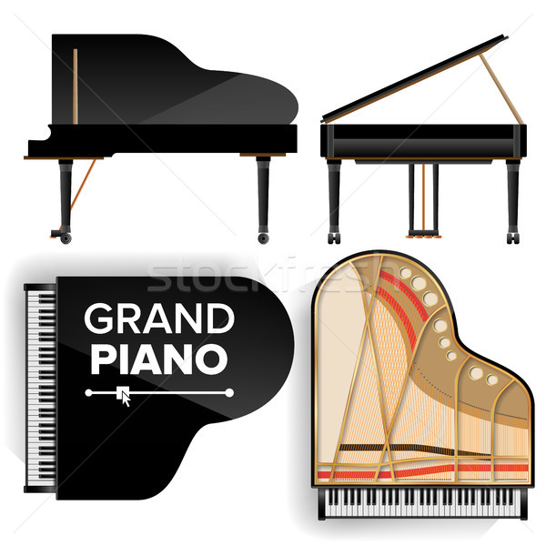 Black Grand Piano Set Icon Vector With Shadow. Realistic Keyboard. Isolated Illustration. Top And Ba Stock photo © pikepicture