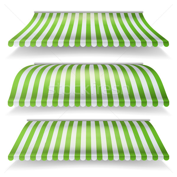 Striped Awnings Vector Set. Large Striped Awnings For Shop And Market Store. Design Element For Shop Stock photo © pikepicture