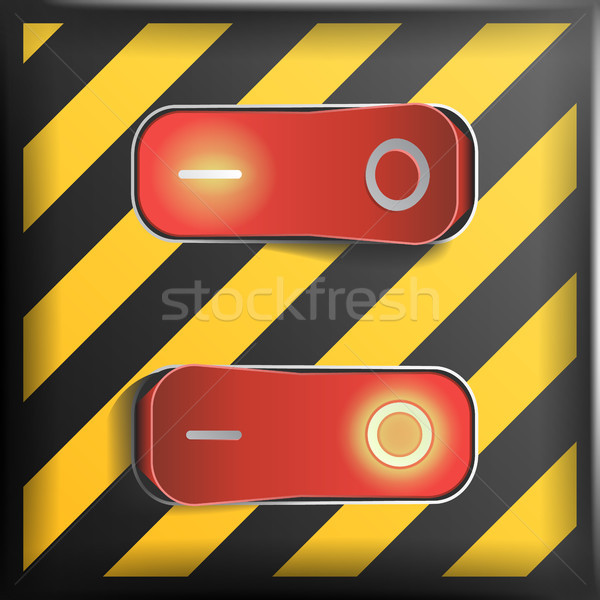 Realistic Toggle Switch Vector. Danger Background. Red Switches With On, Off Position. Control Illus Stock photo © pikepicture