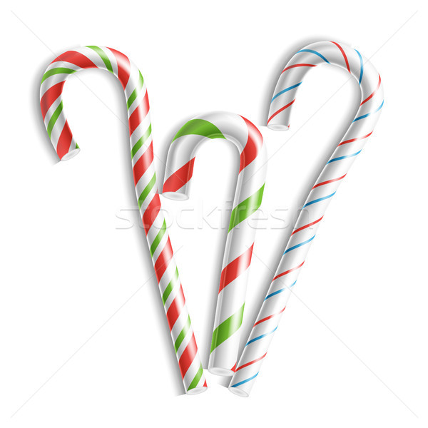 3D Xmas Candy Cane Set Vector. Isolated On White. For Christmas Card And New Year Design. Realistic  Stock photo © pikepicture