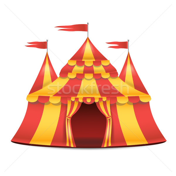 Realistic Circus Tent Vector. Red And Yellow Stripes. Cartoon Big Top Circus Tent Illustration Stock photo © pikepicture