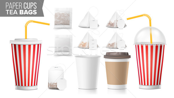 Realistic Blank Ocher Paper Cups Vector. Tea Bags Mock Up. Coffee Cup Blank. Soda, Soft Drinks Cup T Stock photo © pikepicture