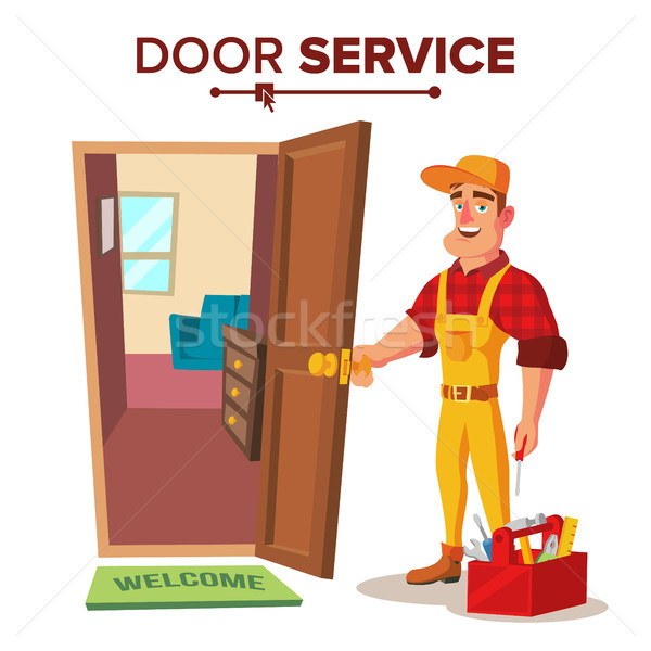 Locksmith Repairman Vector. Unlock The Door Service. Cartoon Character Illustration Stock photo © pikepicture