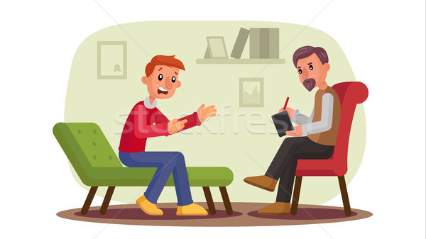 Psychologist Vector. Man Patient Talking Depression, Problems, Alcohol, Drug Addiction. Professional Stock photo © pikepicture