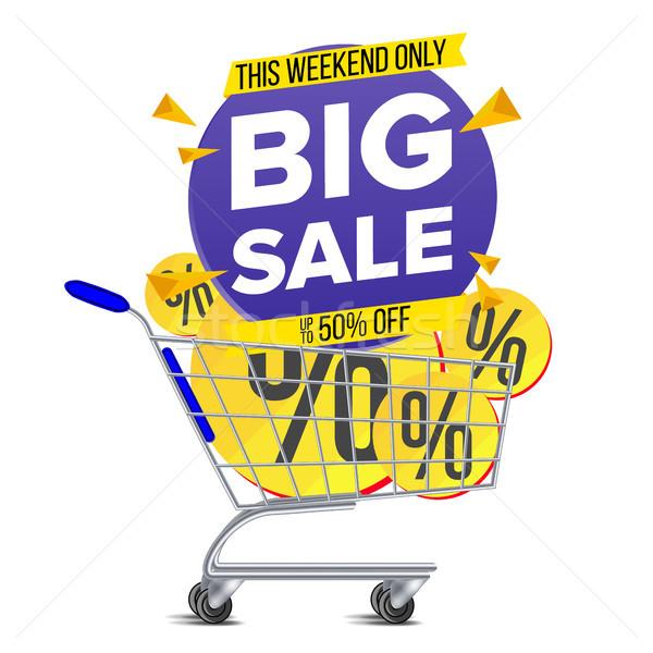Bevásárlókocsi nagy vásár szalag vektor árengedmény Stock fotó © pikepicture