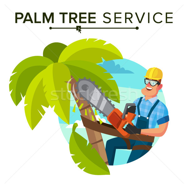 Palm Tree Removal Vector. Trimming Tree Or Removal To Tree Pruning. Flat Cartoon Illustration Stock photo © pikepicture
