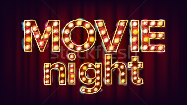 Movie Night Background Vector. Theatre Cinema Golden Illuminated Neon Light. For Theater, Cinematogr Stock photo © pikepicture
