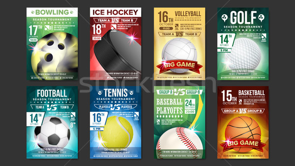 Sport Posters Set Vector. Golf, Baseball, Ice Hockey, Bowling, Basketball, Tennis, Soccer, Football. Stock photo © pikepicture