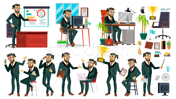 Boss CEO Character Vector. CEO, Managing Director, Representative Director. Poses, Emotions. Boss Me Stock photo © pikepicture