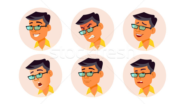 Man Avatar People Vector. Korean, Thai, Vietnamese. Facial Emotions. User Person. Expressive Picture Stock photo © pikepicture
