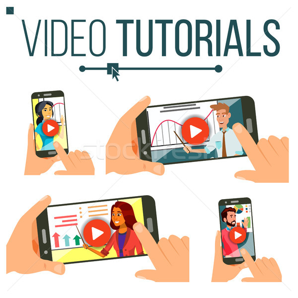 Video Tutorial Set Vector. Streaming Video. Online Education. Study And Learning Background. Busines Stock photo © pikepicture