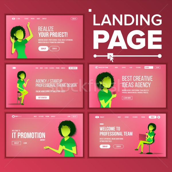 Landing Set Page Vector. Business Agency. Web Page. Design Front End Site Scheme. Landing Template.  Stock photo © pikepicture