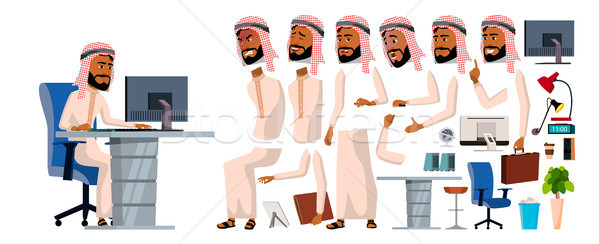 Arab Man Office Worker Vector. Animation Set. Generator. Facial Emotions, Gestures. Front, Side, Bac Stock photo © pikepicture
