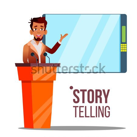 Businessman Fail Speech Vector. Unsuccessful Presentation. Bad Public Speech. Speaker Standing Behin Stock photo © pikepicture