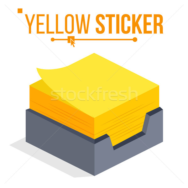 Yellow Sticker Vector. Office Stickers For Notes. Isometric Paper Note. Isolated Illustration Stock photo © pikepicture