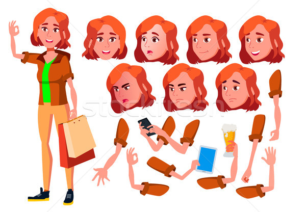 Teen Girl Vector. Teenager. Funny, Friendship. Face Emotions, Various Gestures. Animation Creation S Stock photo © pikepicture