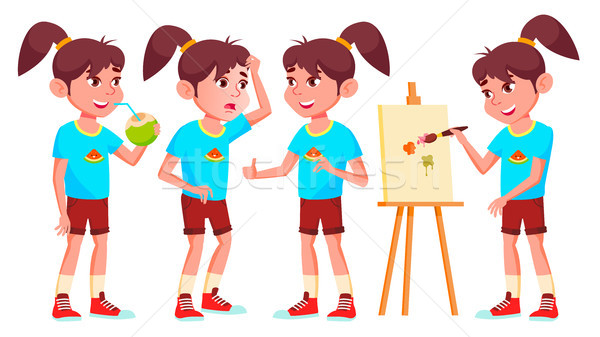 Girl Schoolgirl Kid Poses Set Vector. High School Child. Secondary Education. Educational, Auditoriu Stock photo © pikepicture