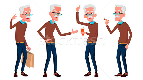 Old Man Poses Set Vector. Elderly People. Senior Person. Aged. Beautiful Retiree. Life. Card, Advert Stock photo © pikepicture