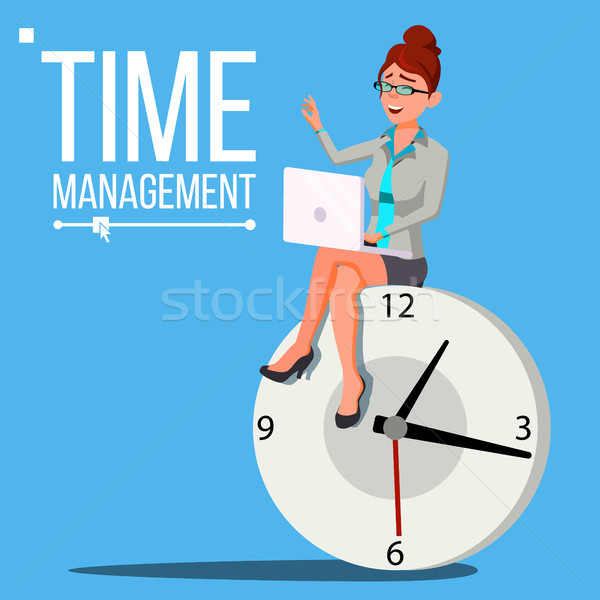 Time Management Woman Vector. Management. Organization Of Work Process. Business Illustration Stock photo © pikepicture