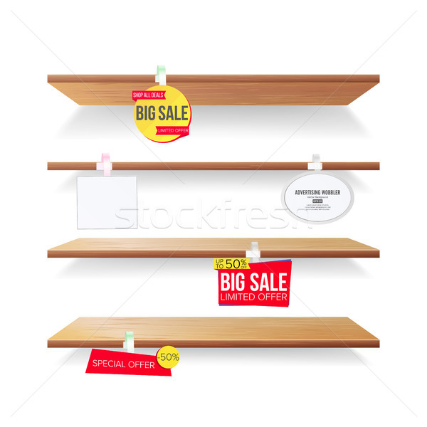 Empty Shelves, Advertising Wobblers Vector. Retail Concept. Discount Sticker. Sale Banners. Isolated Stock photo © pikepicture