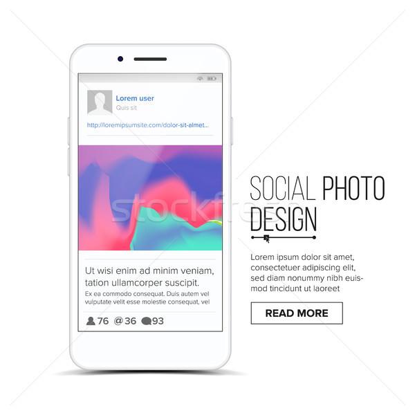 Társasági fényképkeret vektor mobil app kommunikáció Stock fotó © pikepicture