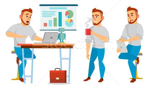 ストックフォト: ビジネス · 文字 · ベクトル · 作業 · 男性 · 環境