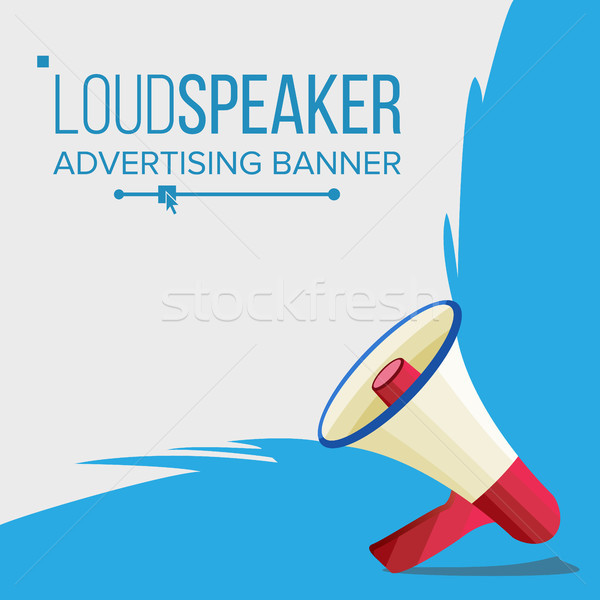 Megaphone Banner Vector. Elections Symbol. Banner For Business, Promotion. Flat Cartoon Illustration Stock photo © pikepicture