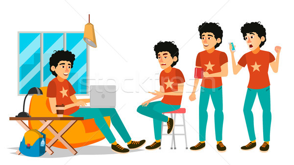 Junior Coder Character Vector. Working Male. IT Startup Business Company. Environment Process. Start Stock photo © pikepicture