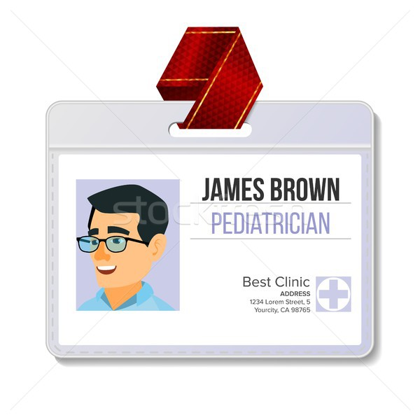 Pediatrician Medical Identification Badge Vector. Man. Name Tag Template. Medicine. Health. Medical  Stock photo © pikepicture