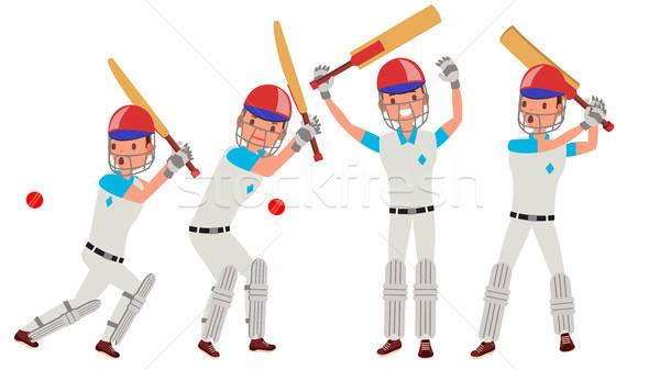 クリケット プレーヤー ベクトル アクション チーム 文字 ストックフォト © pikepicture