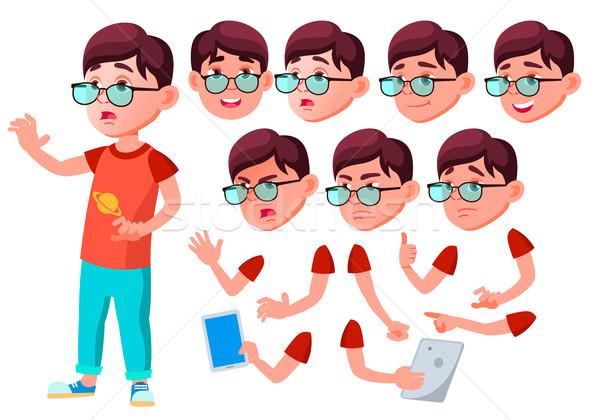 Boy, Child, Kid, Teen Vector. Joy. Comic Classmate. Face Emotions, Various Gestures. Animation Creat Stock photo © pikepicture