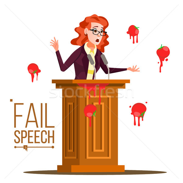 Business Woman Fail Speech Vector. Unsuccessful Messaging. Bad Feedback. Having Tomatoes From Crowd. Stock photo © pikepicture