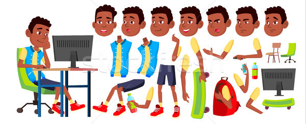 Boy Schoolboy Kid Vector. Black. Afro American. High School Child. Animation Creation Set. Face Emot Stock photo © pikepicture