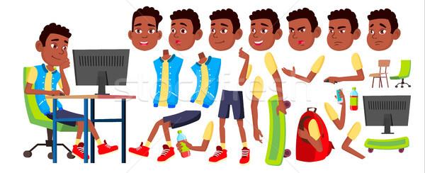 Erkek öğrenci çocuk vektör siyah afro Stok fotoğraf © pikepicture