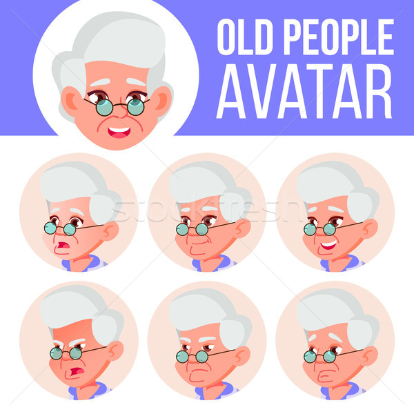 старуху Аватара набор вектора лице Сток-фото © pikepicture