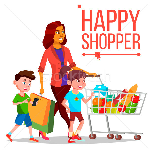 Shopping Woman Vector. With Children. Purchasing Concept. Happy Shopper. Smiling Girl. Holding Paper Stock photo © pikepicture
