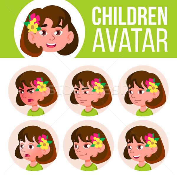 Meisje avatar ingesteld kid vector kleuterschool Stockfoto © pikepicture