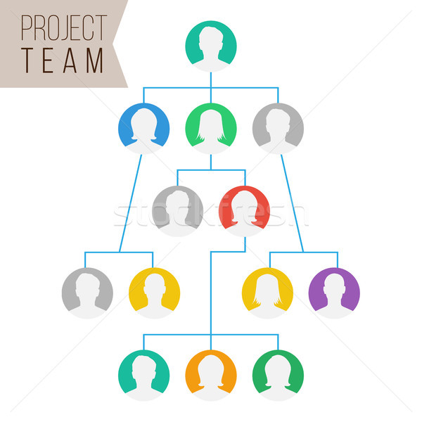 Project Team Vector. Employee Group Organization. Flat Default Employee Avatars. Network Of People.  Stock photo © pikepicture