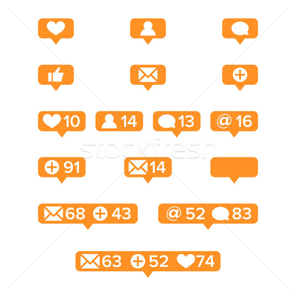Notifications Icons Template Vector. Social network app symbols of heart like, new message bubble, f Stock photo © pikepicture