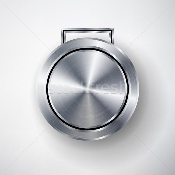 Rekabet oyunları gümüş madalya şablon vektör Stok fotoğraf © pikepicture