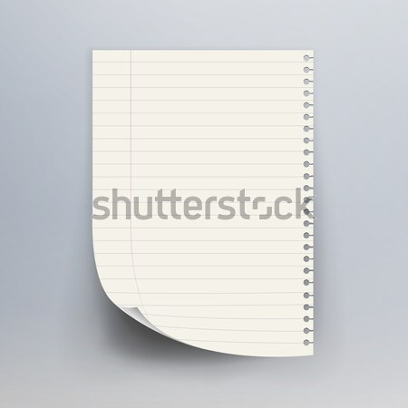 Notebook Paper With Torn Edge Vector Illustration. Realistic Commercial Vertical Background. Stock photo © pikepicture