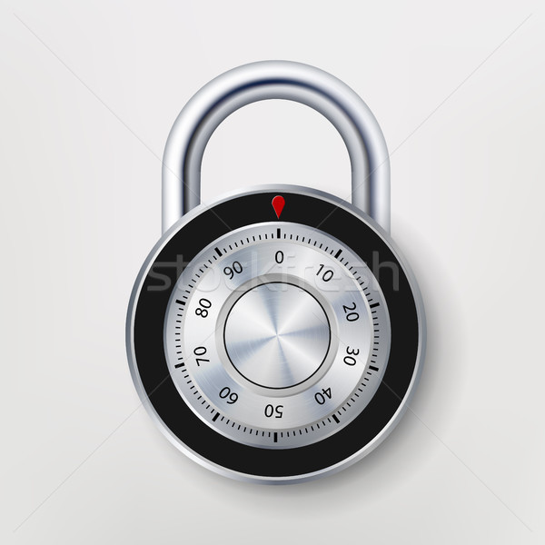 Stock photo: Combination Padlock, Realistic Metal Vector
