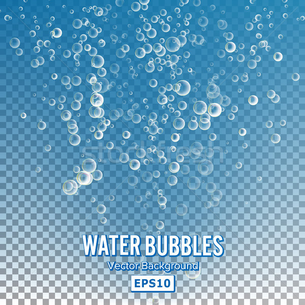 Bubbles In Water On Transparent Background. Glossy Realistic Bubble And Translucent Aqua Bubble Illu Stock photo © pikepicture