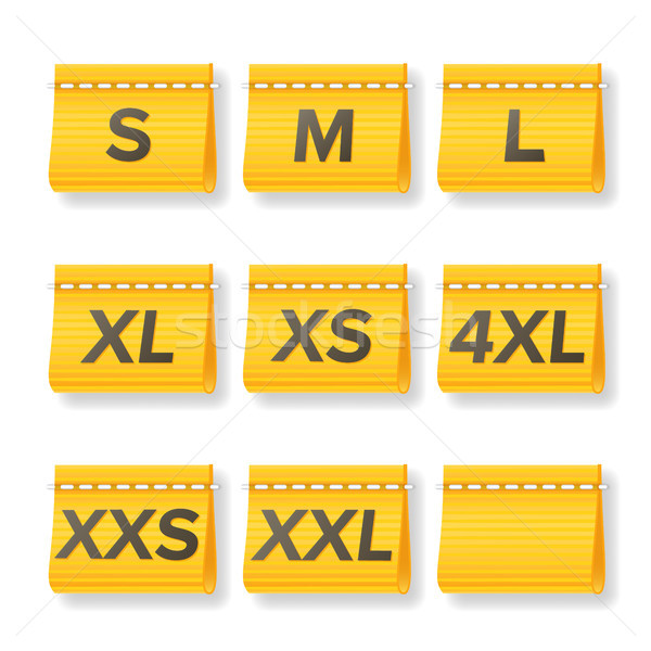 Stock photo: Clothing Size Labels Set Vector. Isolated On White. Realistic Illustration
