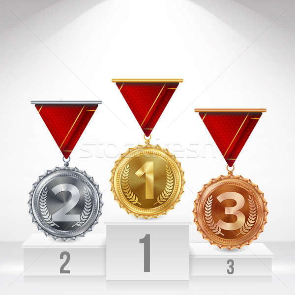 Pedestal With Gold, Silver, Bronze Medals Vector. White Winners Podium. Number One. 1st, 2nd, 3rd Pl Stock photo © pikepicture