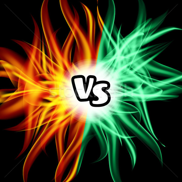 Versus Vector. VS Letters. Flame Fight Background Design. Competition Concept. Fight Symbol Stock photo © pikepicture