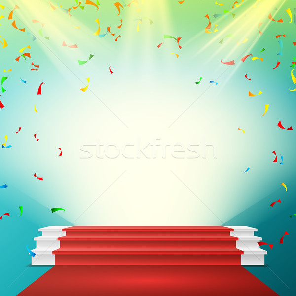 White Winner Podium Vector. Red Carpet, Falling Confetti Explosion. Stage For Awards Ceremony. Pedes Stock photo © pikepicture
